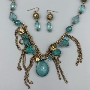 Gold & Blue Statement Necklace & Earrings Set
